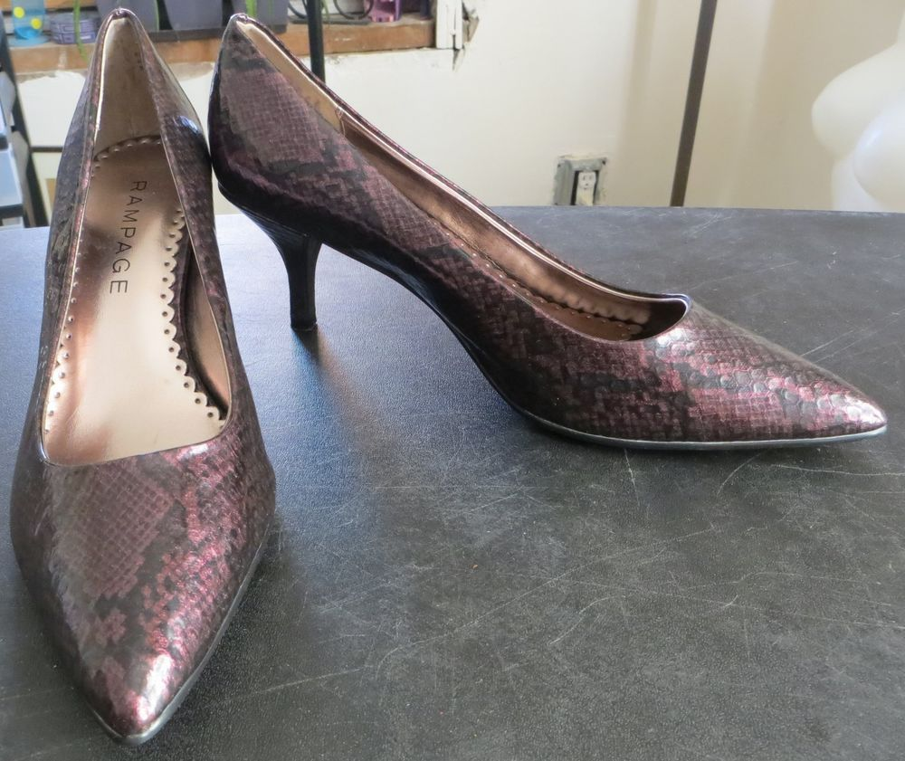 """""""RAMPAGE"""" SIZE 8.5 PURPLE SNAKE SKIN LOOK PUMPS SHOES - PLEASE SEE ALL PICTURES #RAMPAGE #PumpsClassics"""