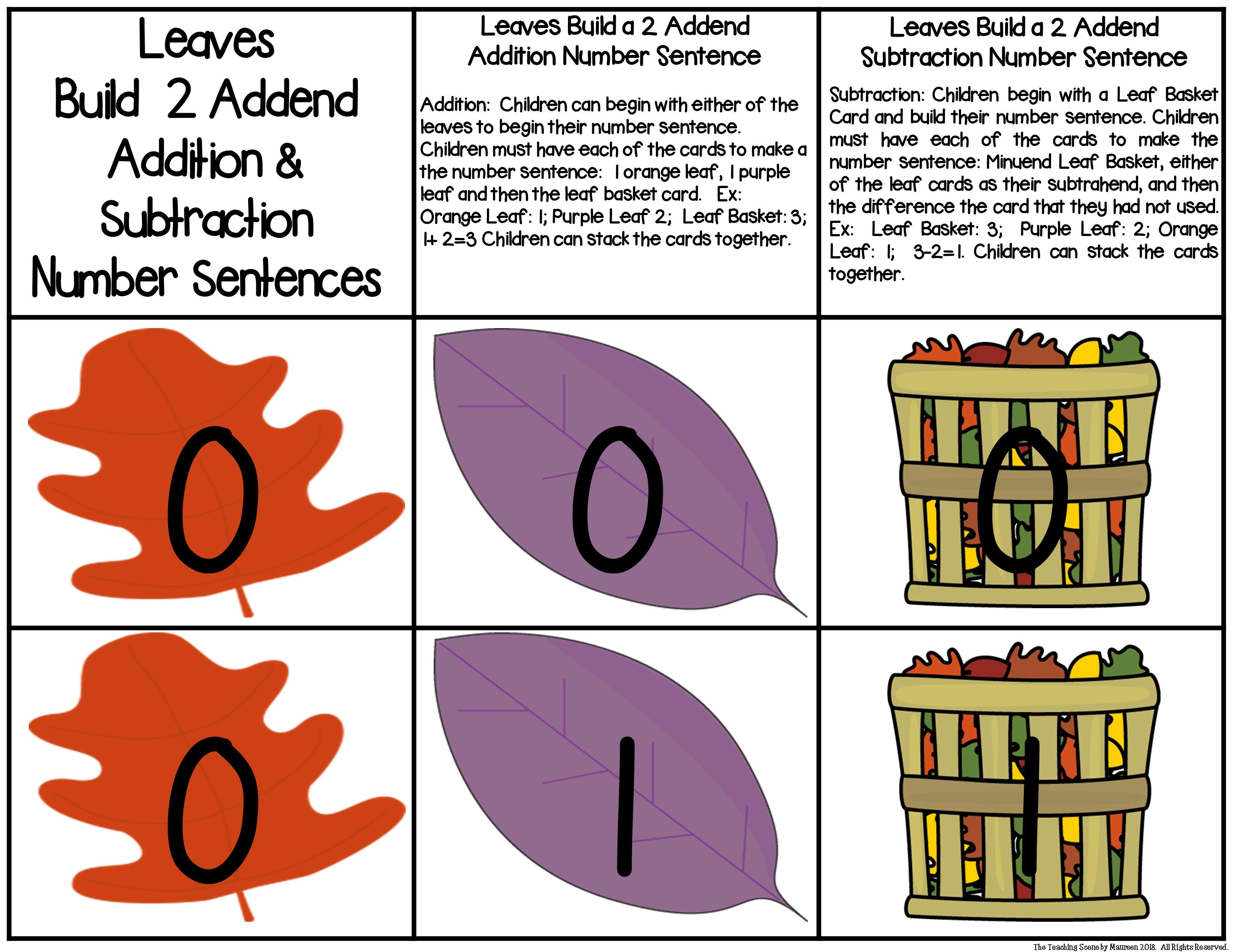 Fall Leaves Build 2 Addend 0 20 Addition Amp Subtraction