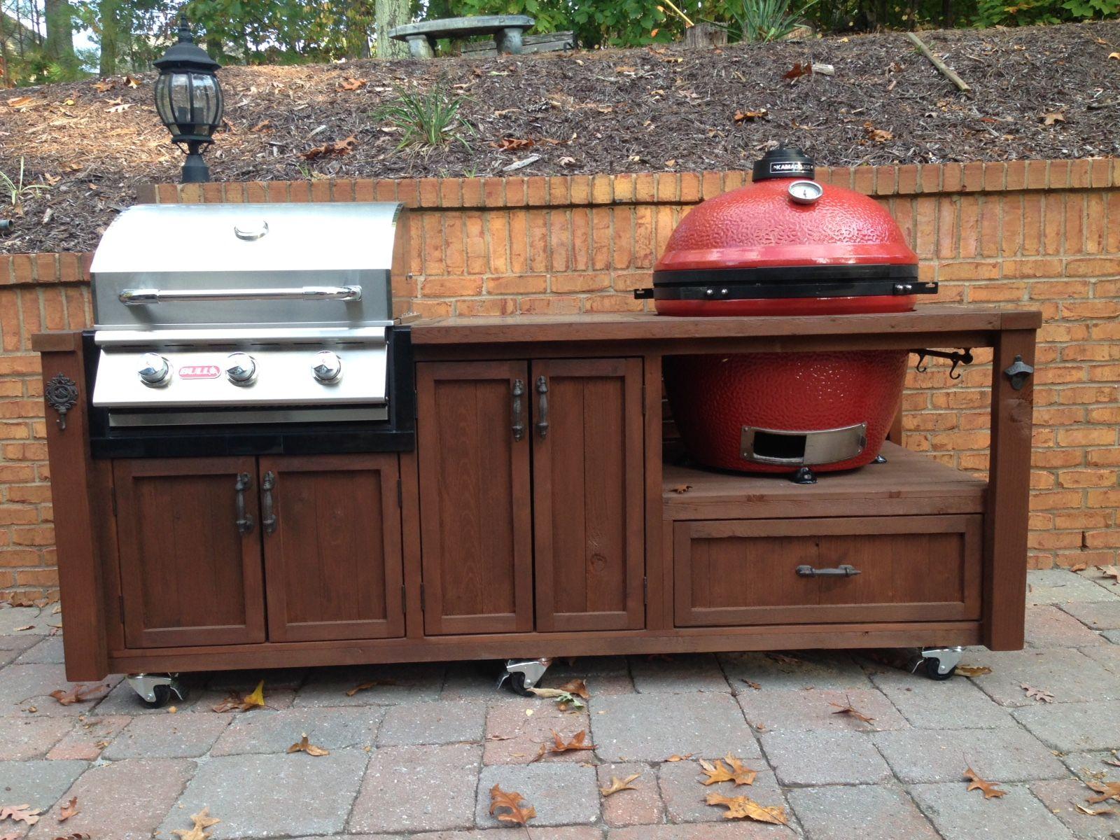 Kamado Joe Big Joe Twice As Hot Grill Table Grill Island Outdoor Kitchen Design