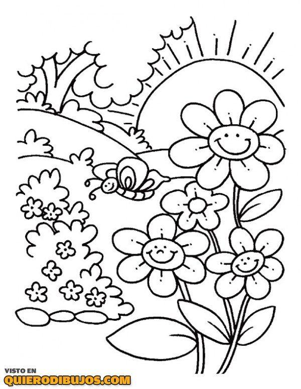 Paisaje primaveral | dibujos para colorear | Pinterest | Paisajes ...