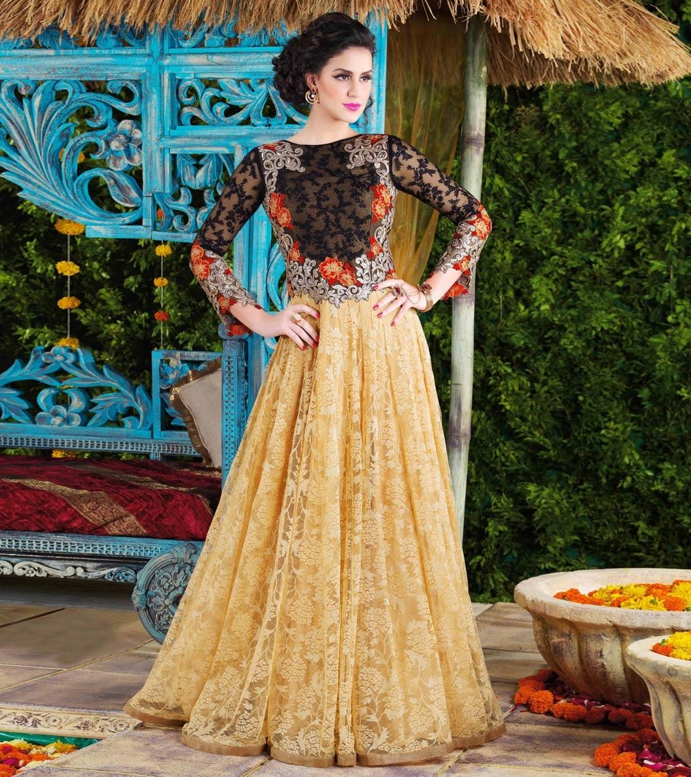 Yellow embroidered net semi stitched gown by lilots at