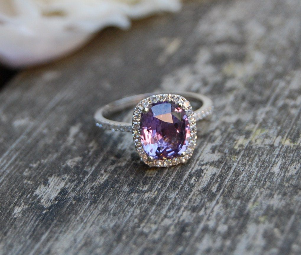 2.6ct Cushion Plum Color Change Sapphire 14k White Gold