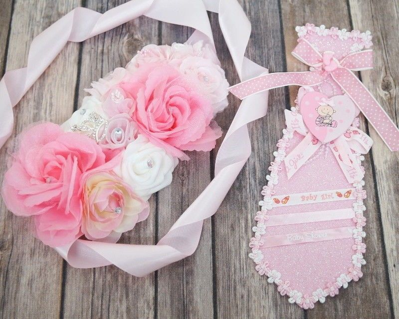 Baby Shower Girl Corsage Maternity Belt Sash Mom Dad To Be Ribbon