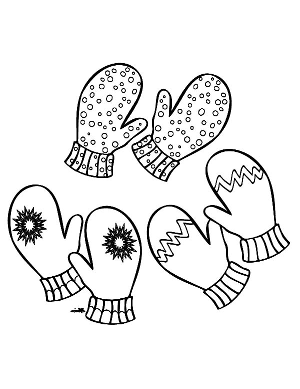 Three Pair Of Mittens Coloring Pages Color Luna in 2020