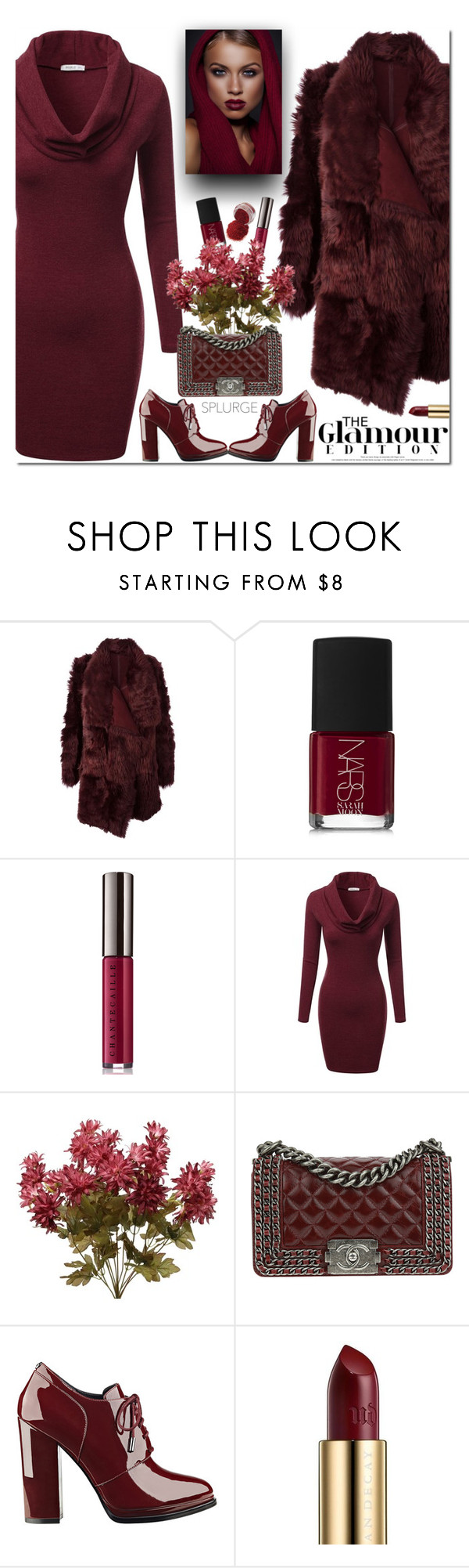 """Splurge Gift - You're Worth It!"" by firstclass1 ❤ liked on Polyvore featuring Meteo by Yves Salomon, NARS Cosmetics, Chantecaille, J.TOMSON, Chanel, GUESS, Urban Decay, fashionista, oxblood and glam"