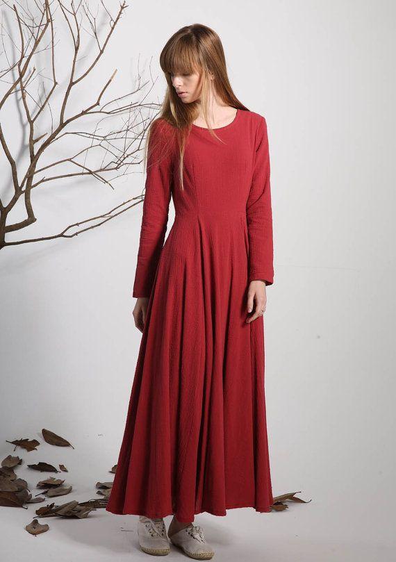 Rotes Leinen Kleid Maxi Kleid Frauen Kleid lange Kleid von ...