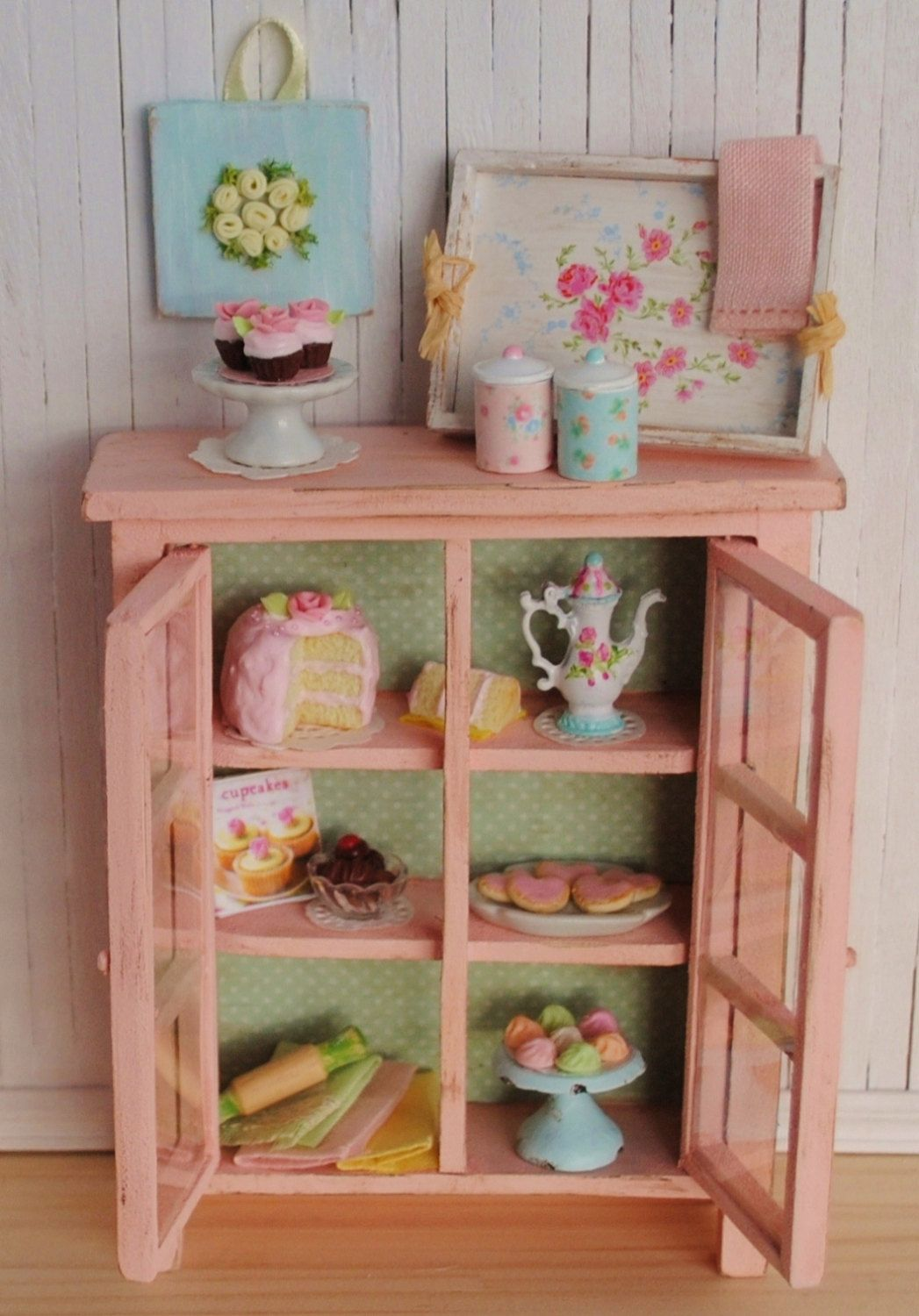 Miniature Shabby Chic Kitchen Cabinet Filled With Sweets