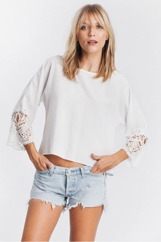 Lace Madelyn Crop Top - multiple colors! from Karen Zambos.  Fabrication: 100% Rayon, Dry clean.  Made in U.S.A.  Available colors: Ivory, Peach, Sand, Pale Blue