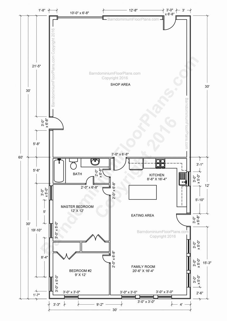 Pole Barn With Living Quarters Floor Plans Unconventional Garage Barns Barndominium Floor Plans Pole Barn House Plans Barn House Plans