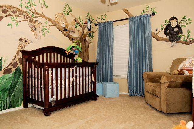 Gut Babyzimmer Wandgestaltung Malerei Afrika Tiere