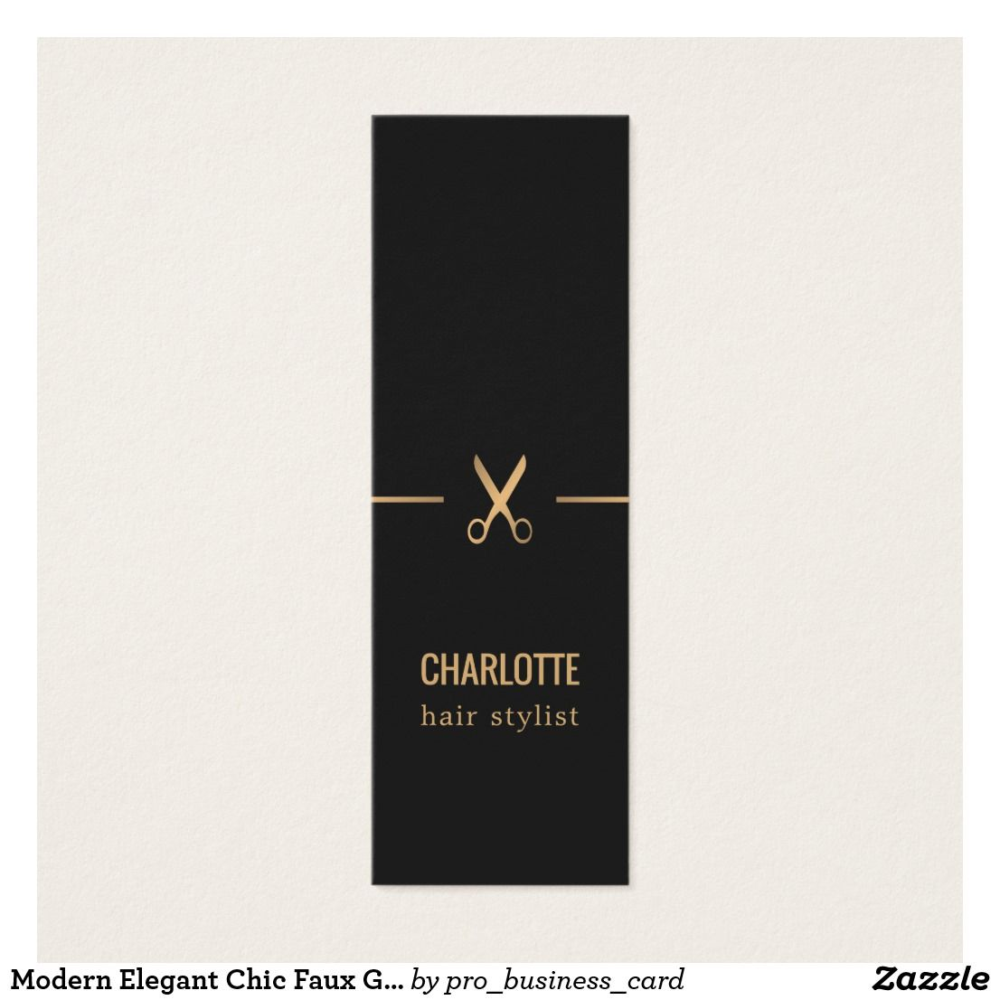 Modern elegant chic faux gold black hair stylist mini business card reheart Image collections