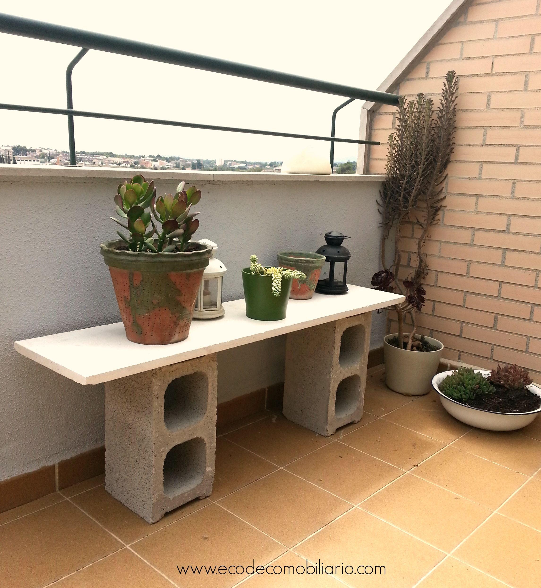 Diy Jardinera Con Bloques De Hormig N Muebles Reciclados  # Muebles Cuanta Razon