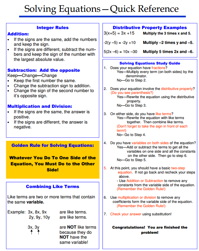 Solving Equations Quick Reference Algebra Pinterest Math