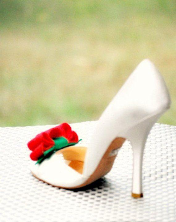 216b9a90003e RED   KELLY GREEN Tuxedo Shoe Clips   Hair Bows Gift Under 50. Couture  Bride Bridal Bridesmaid