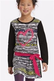 Desigual - Girls Long Sleeve Dress With Painted Heart