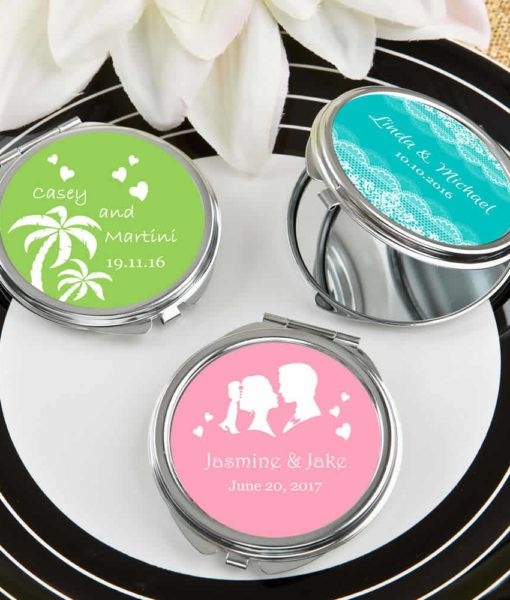 Compact Mirror Party Favors Free Rush With Custom Design Compact Mirror Favors Compact Mirror Creative Wedding Favors