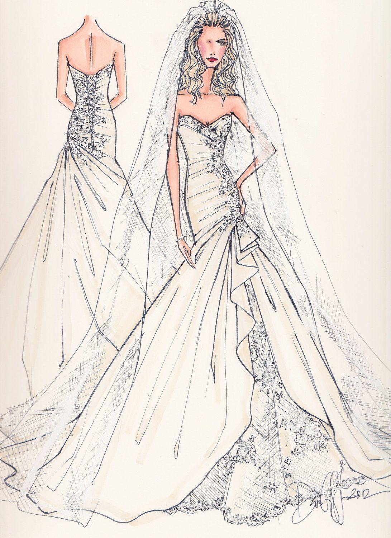 Custom Bridal Illustration FRONT AND BACK. $190.00, via Etsy.