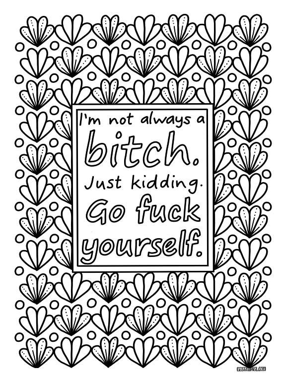 Sassy Sayings Printable Coloring Book For Adults Curse Word