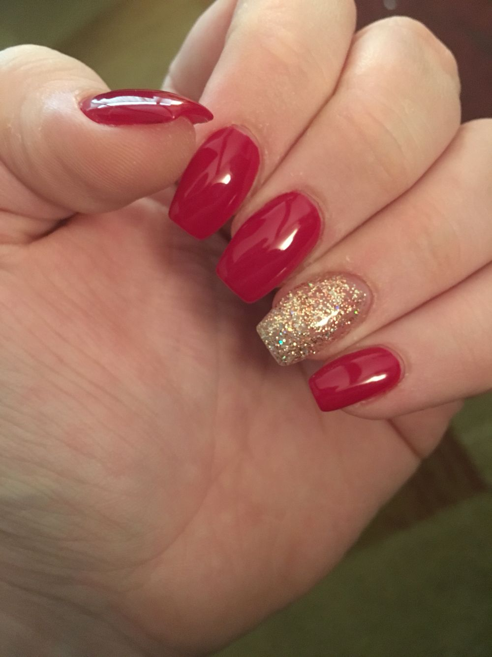 Classy Cranberry Red Square Coffin Shaped Acrylic Nails With Gold Accent Nail