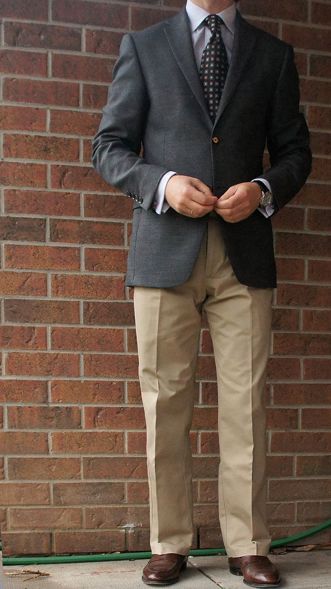 charcoal blazer khaki pants - Google Search | Blazers | Pinterest ...