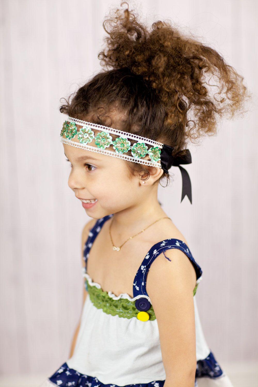 Little girlus cute headbands aqua green sequin bohemian headband
