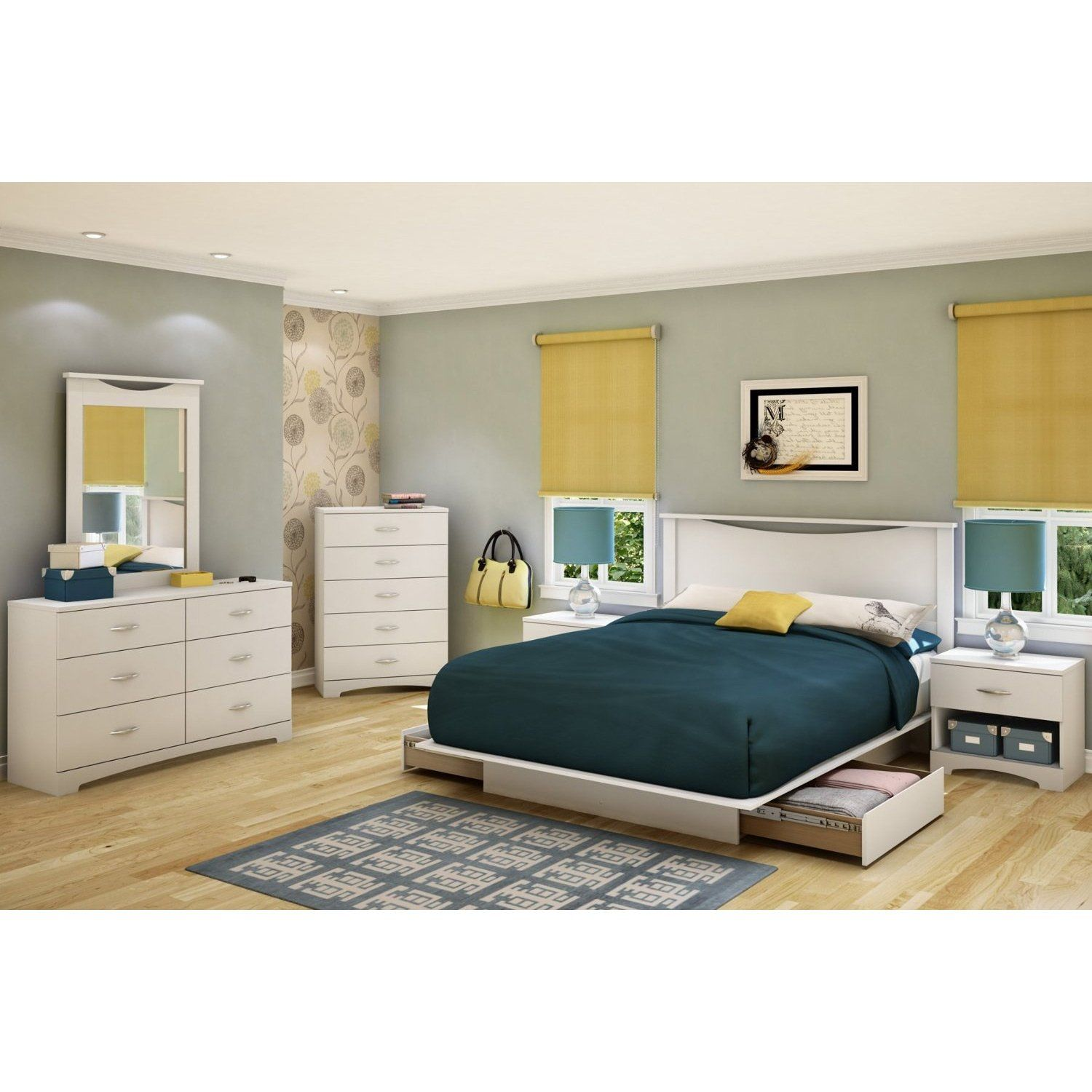 Full Size White Modern Platform Bed Frame With 2 Storage Drawers