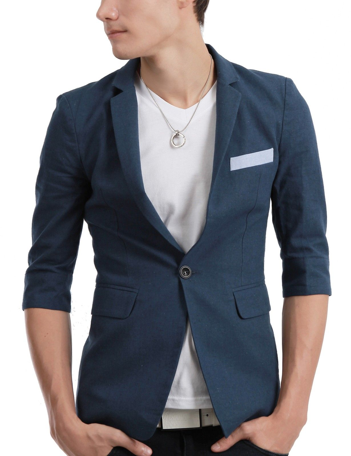 Mens Casual Onebutton Short Sleeve Blazer Jacket (091D) | Stuff to