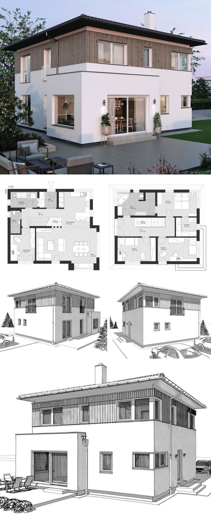 Arc fassade landhaus mit modern neubau stadtvilla walmdach for men in house design co  also rh pinterest