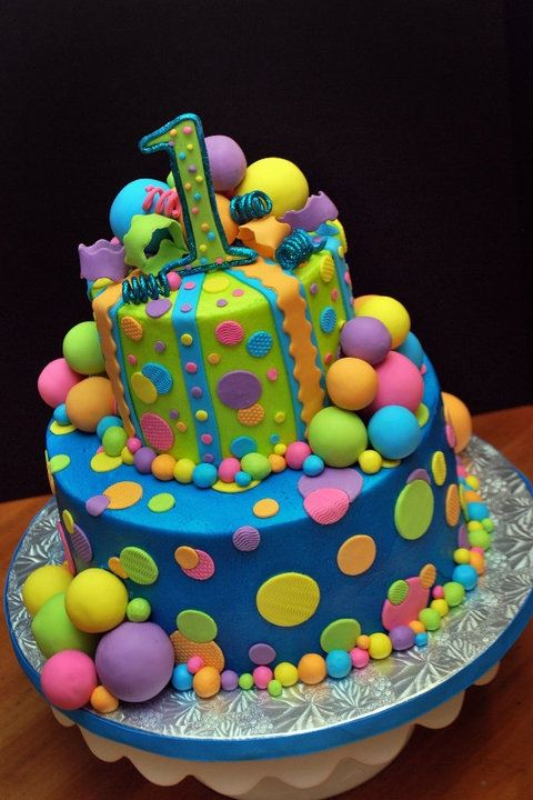 Bubbles And Balls Bright Fun And Colourful Birthday Cake We