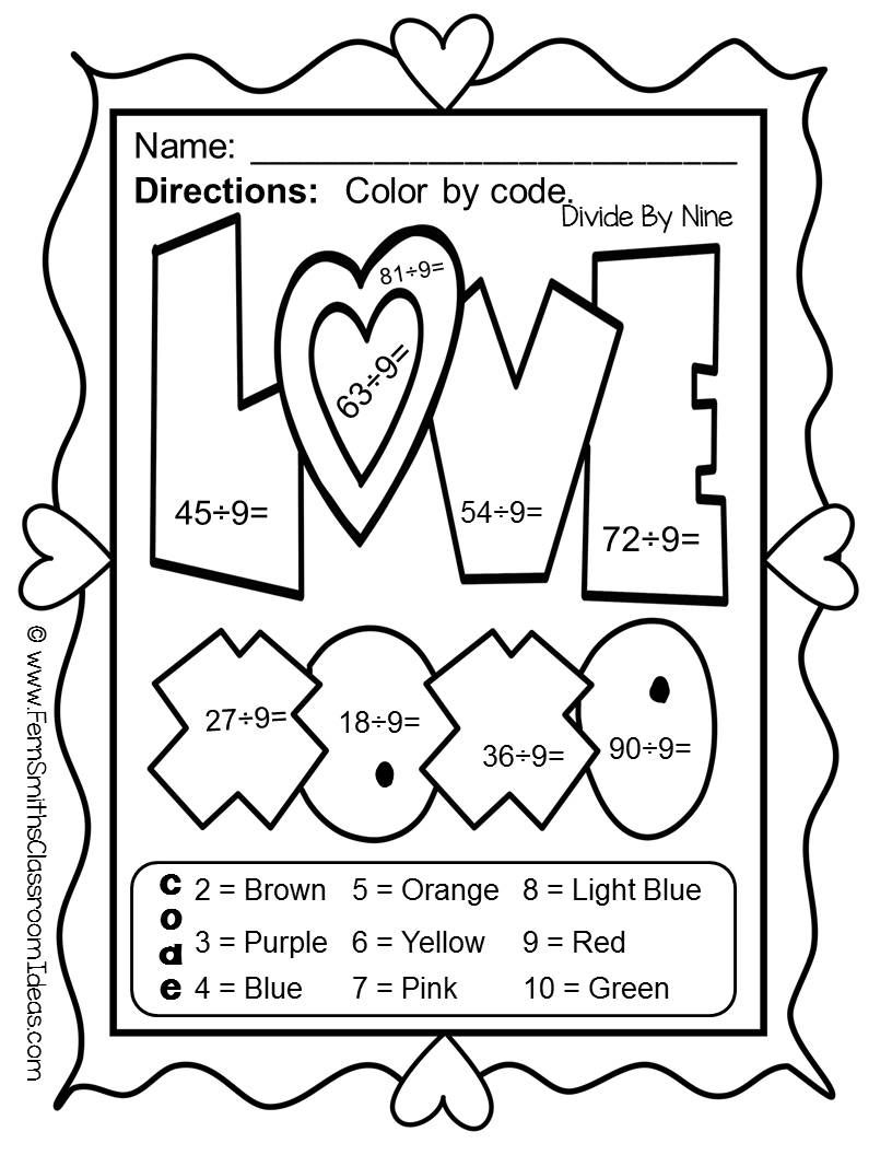 Valentines - Valentine's Day Fun! Valentine's Day Funky Valentines Division  - Color Your Answers…   Valentine math worksheet [ 1056 x 816 Pixel ]
