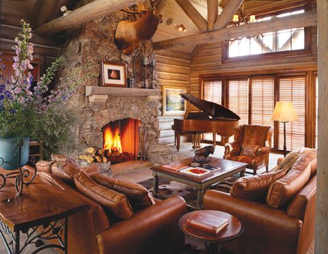 Elegant Great Room With Grand Piano Leather Seating Stone Fireplace Exquisite