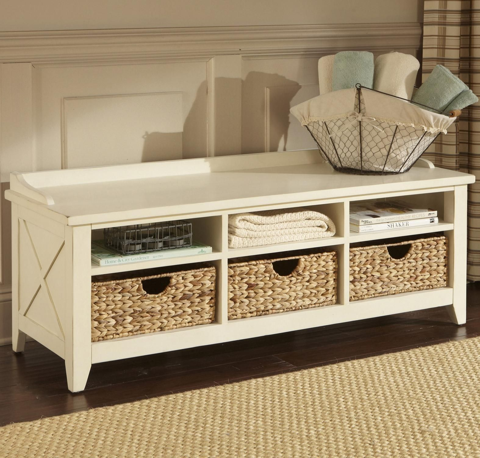 Image of: Build A Bench With Storage Baskets Home Decorations Inside ...