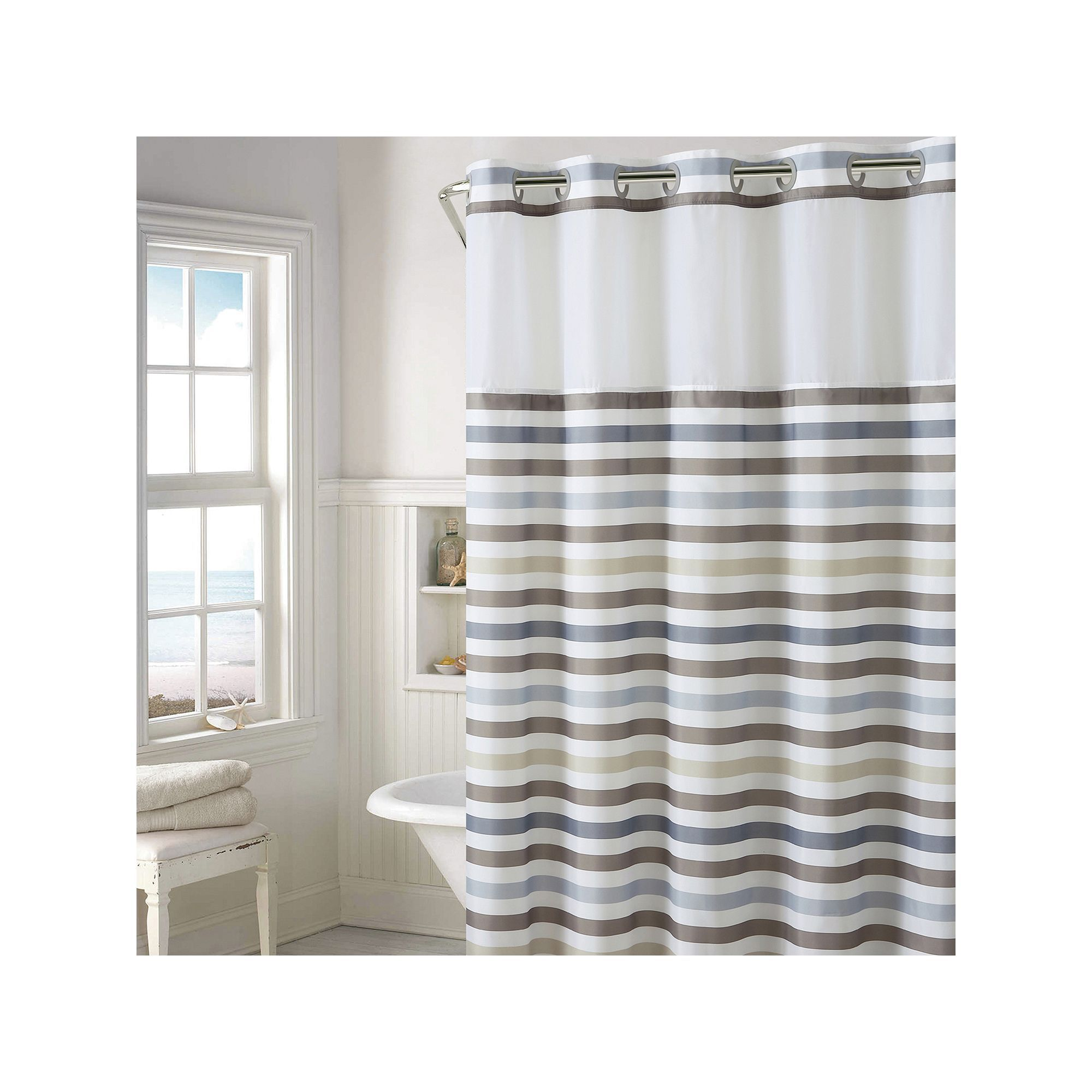 Hookless Hampton Multi Striped Shower Curtain With Liner Plaid