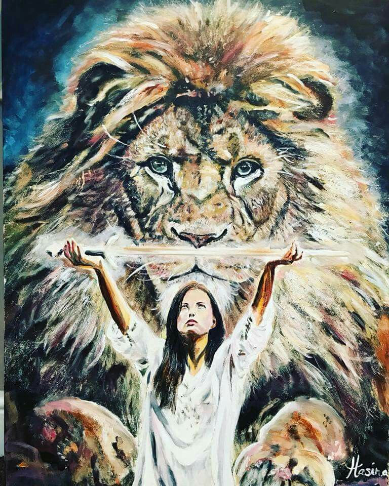 Lion Of Judah And Woman With Sword Prophetic Art Painting
