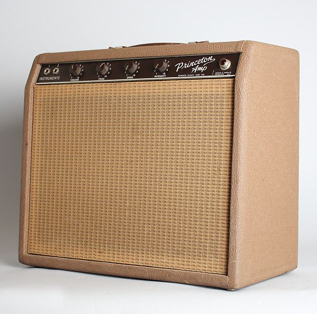 """Fender Princeton Model Tube Amplifier (1962), made in Fullerton, California, serial # P-01420, brown tolex covering finish. This is an excellent example of one of our favorite amps-the """"brownface"""" Fender Princeton. These re-designed Tolex-covered amps were Fender's new line of the early 1960's, ..."""