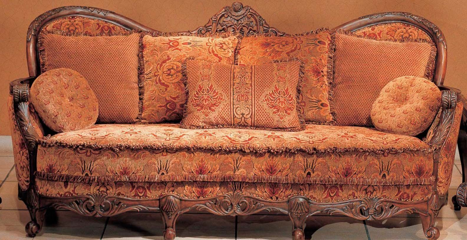Antike Sofas Contemporary Fine Peach Sofa Set Traditional Floral Sofa Group With Wood Trim