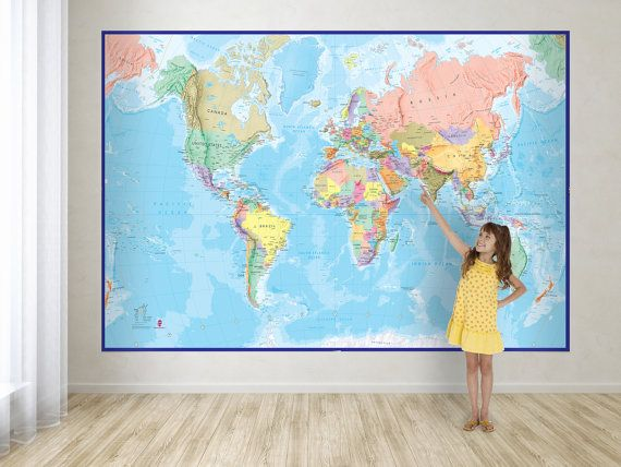 Giant world map mural blue ocean wall decal map wallpaper this giant world map mural is supplied on strips of wallpaper to make it easy for gumiabroncs Gallery
