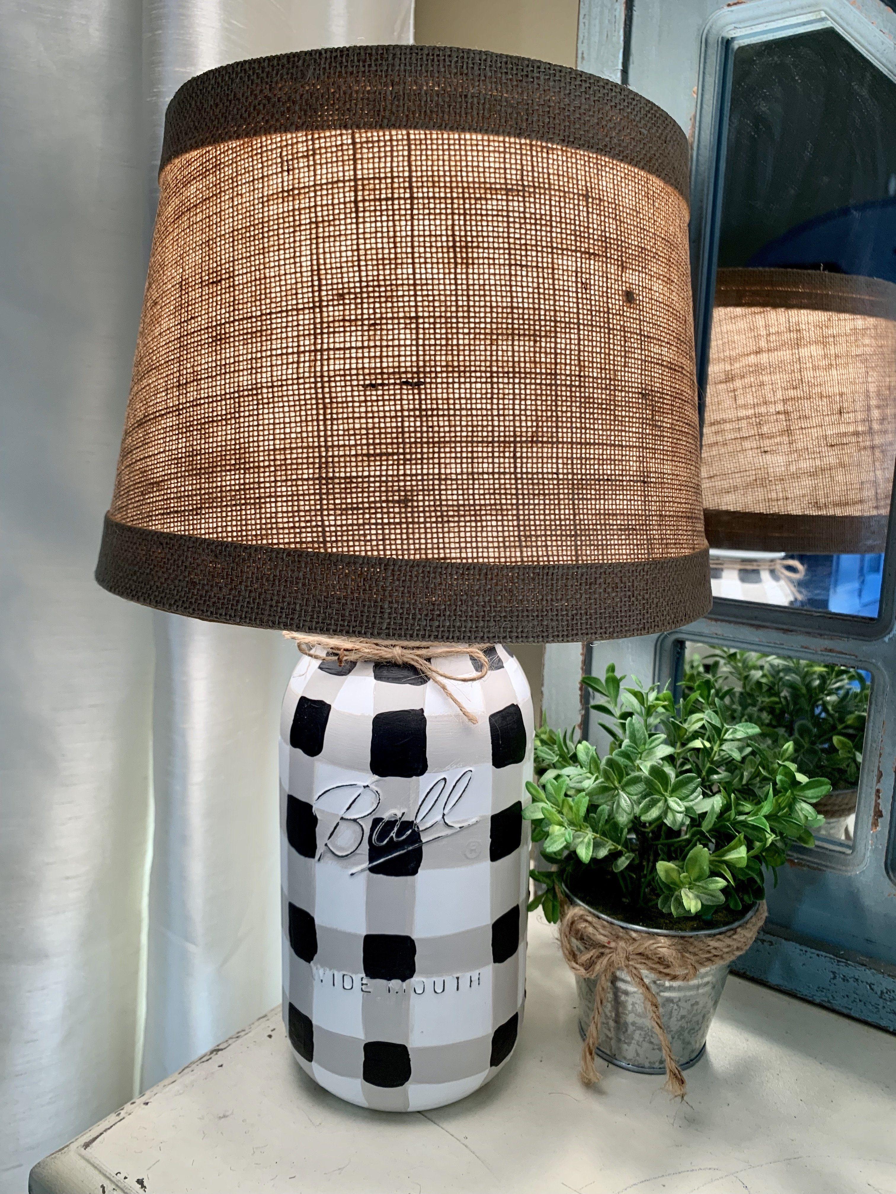 Black and white gingham mason jar lamp diy home decor
