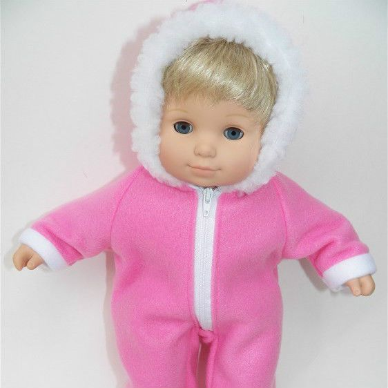 bitty baby clothes doll girl or 15 twin snowsuit medium pink handmade winter fur #15INCHBITTYBABY #ClothingShoes