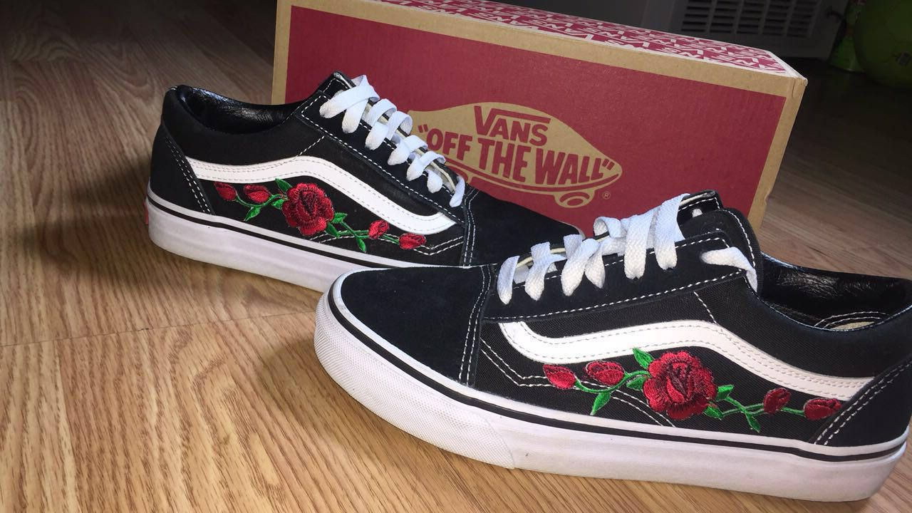 Rose Embroidered Old Skool Vans Vans Shoes With Leggings Vans Old Skool
