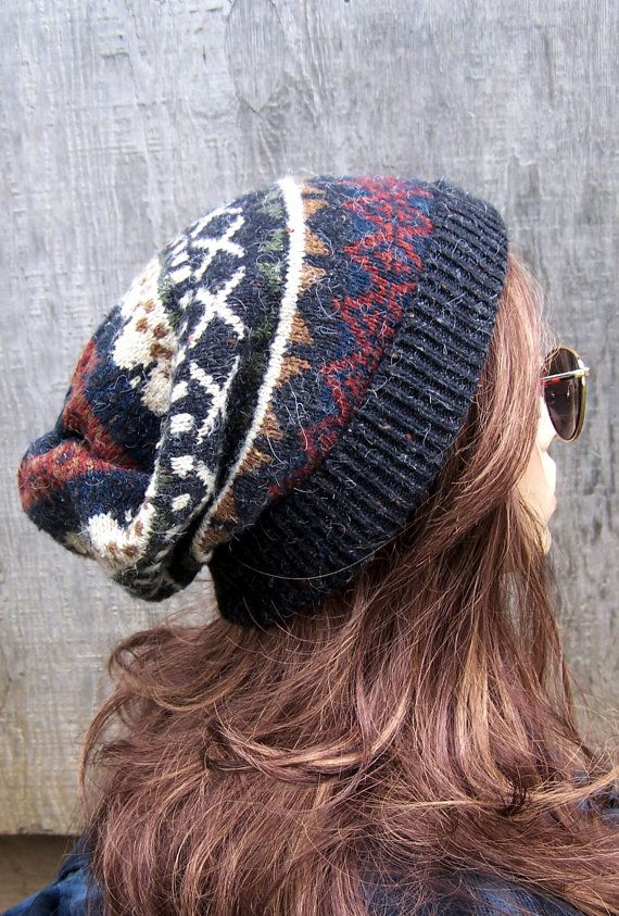 SLOUCHY BEANIE HAT recycled sweater hat charcoal grey Fair Isle ...