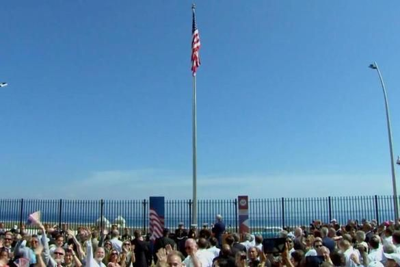 U.S. flag flies for the first time in 50 years in Cuba.