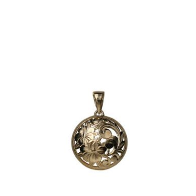 "SPRING CLEARANCE SALE! Round Hibiscus Pendant. 14K Gold Round Hibiscus Pendant. Classic Design with Hawaiian Scroll and Hibiscus Flowers. 20mm (approx. 13/16""). Lifetime guarantee. Made in Hawaii."
