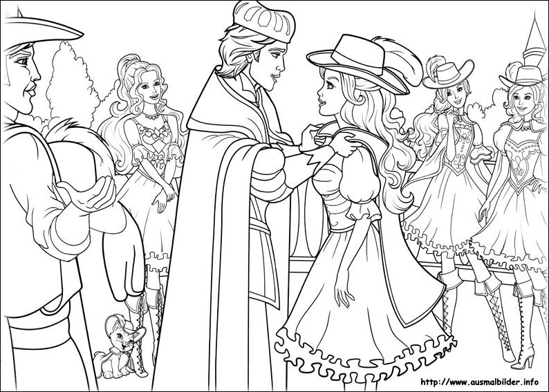3Ms Coloring Page Barbie And The Three Musketeers