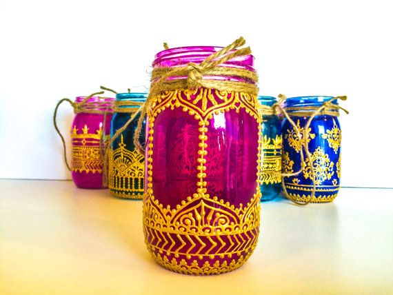 This is part of the new line inspired by the bright colored fabrics of India! These henna lanterns are great for home decor, wedding decor, party