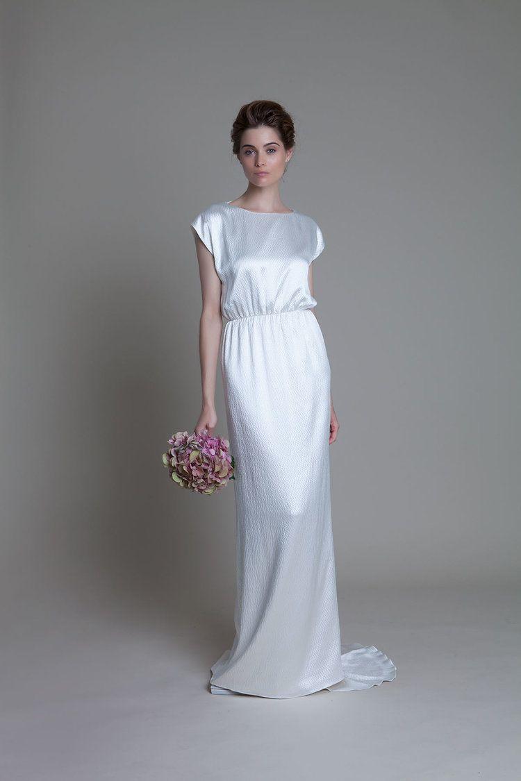 Hennie hammered silk backless bridal wedding dress by Halfpenny ...