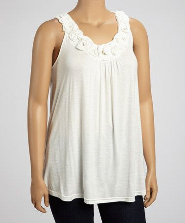 This Ivory Rosette Pearl Sleeveless Top - Plus is perfect! #zulilyfinds