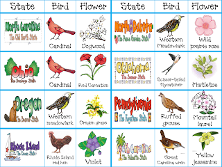 Printable Cards For The 50 States With State Birds Flowers