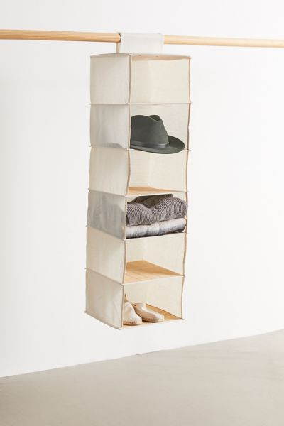 Hanging Canvas And Bamboo 6 Tier Closet Organizer In 2020