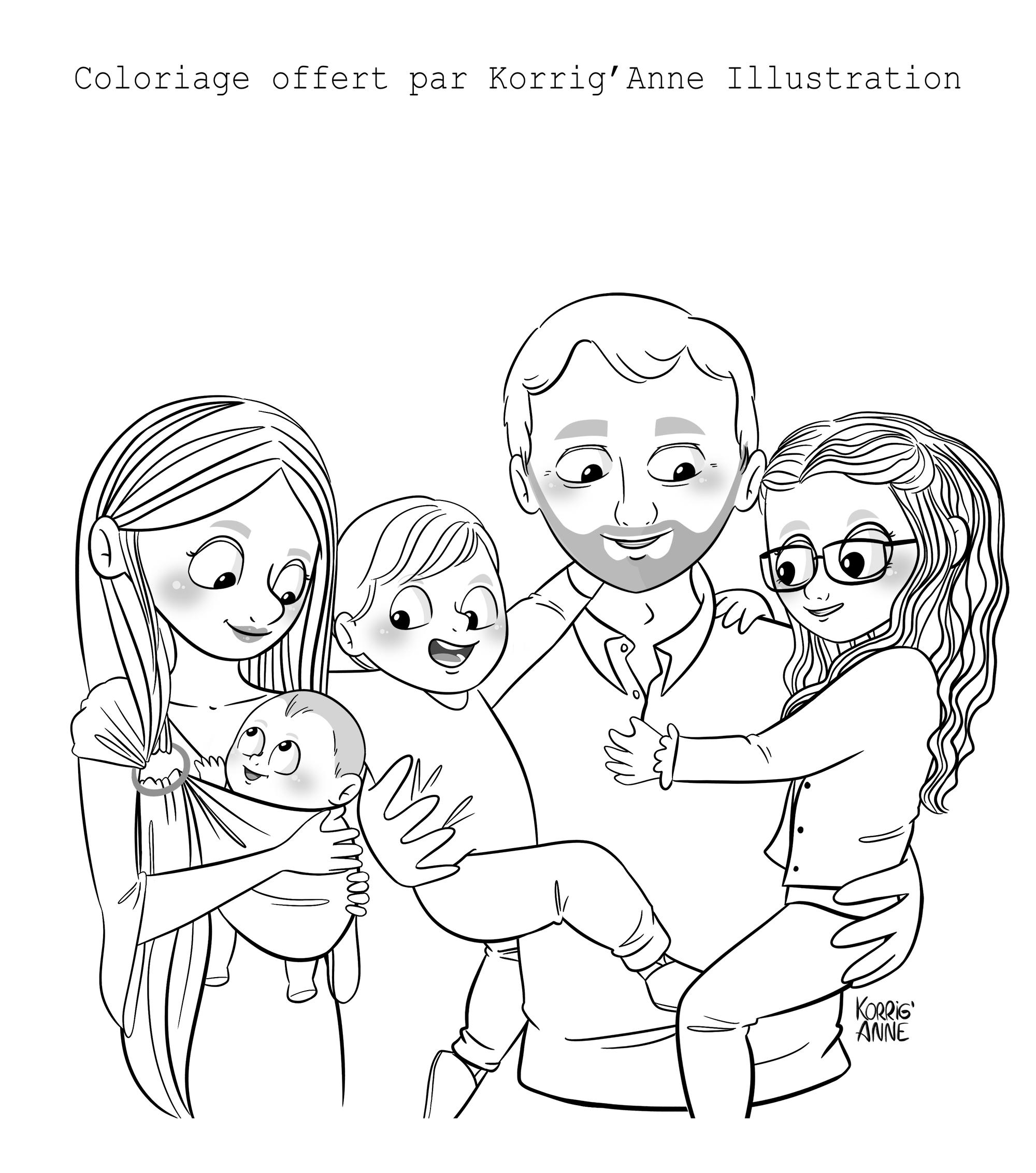 Famille en coloriage gratuit   Coloriage, Coloriage gratuit, Colorier